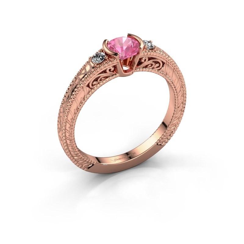 Verlovingsring Anamaria 375 rosé goud roze saffier 5 mm