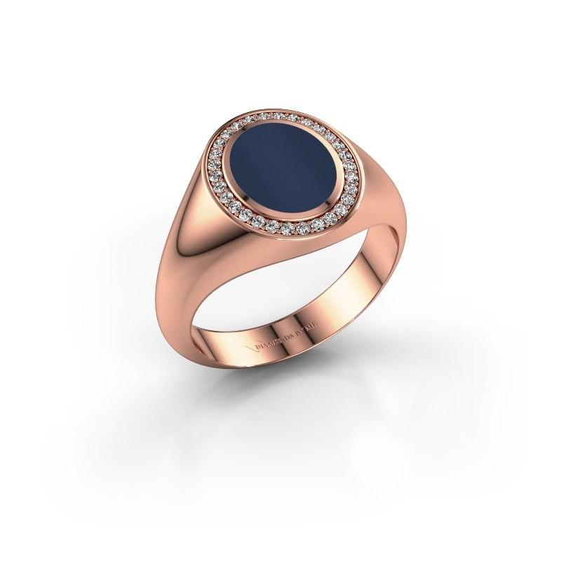 Pinkring Adam 1 375 rosé goud donker blauw lagensteen 10x8 mm