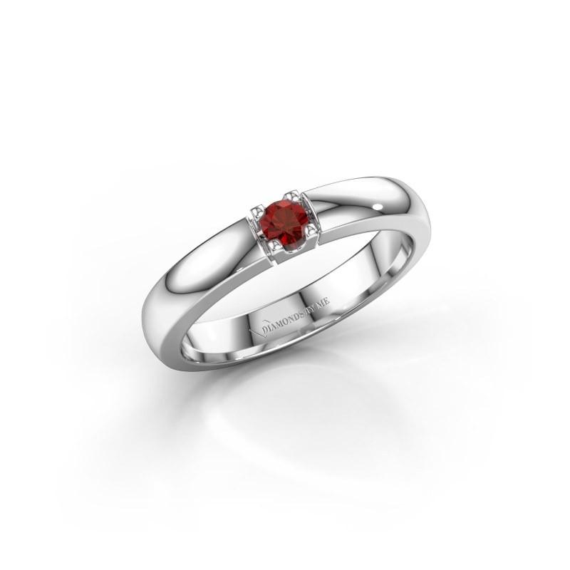 Engagement ring Rianne 1 585 white gold garnet 3 mm