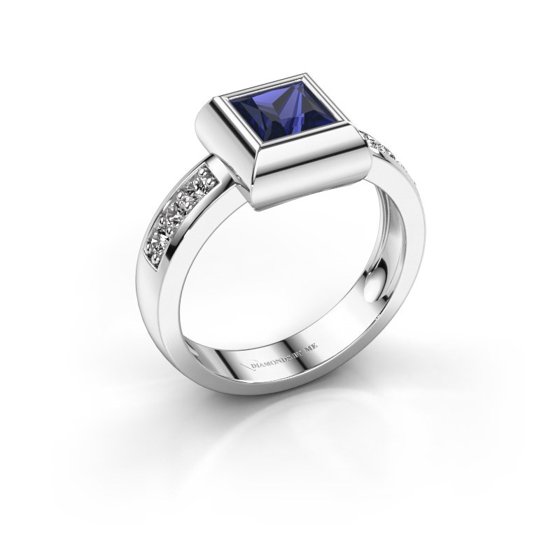 Ring Charlotte Square 925 silver sapphire 5 mm