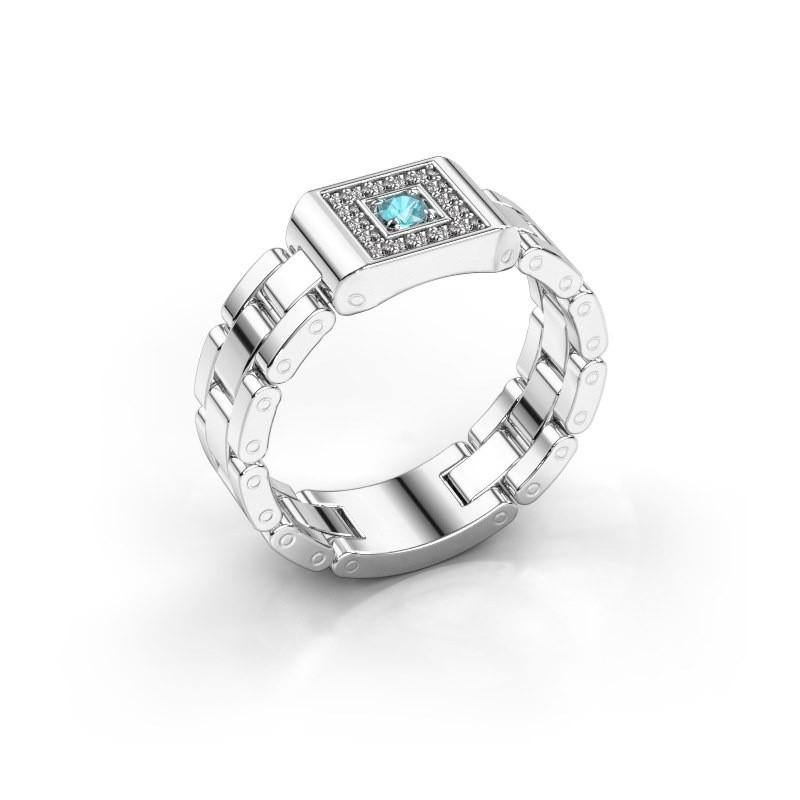 Rolex stijl ring Giel 950 platina blauw topaas 2.7 mm