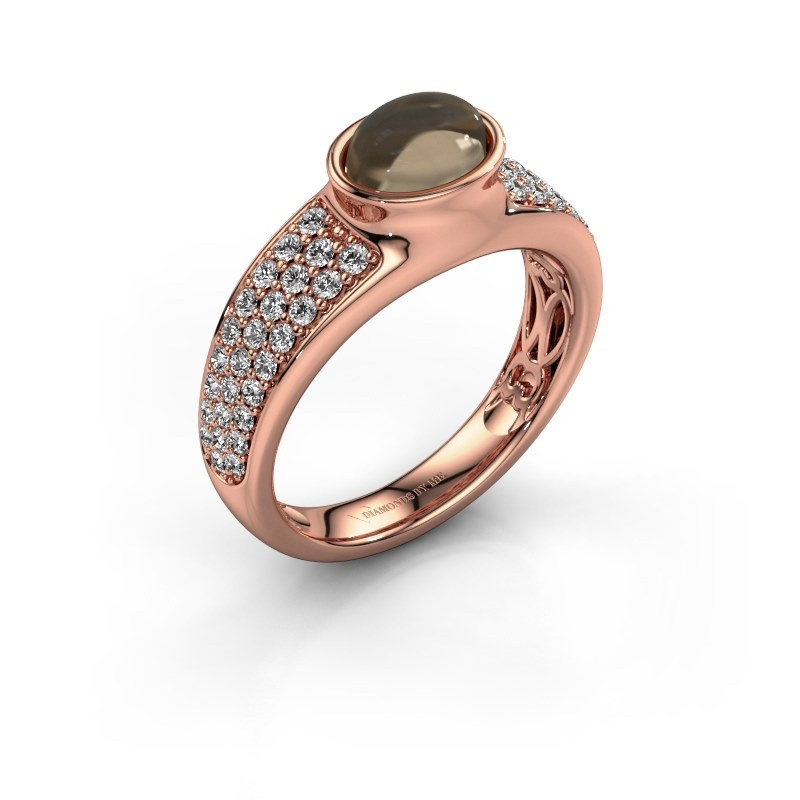 Ring Tatyana 375 rose gold smokey quartz 7x5 mm