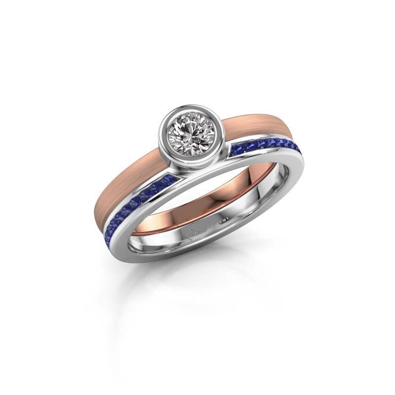 Ring Cara 585 rose gold sapphire 4 mm