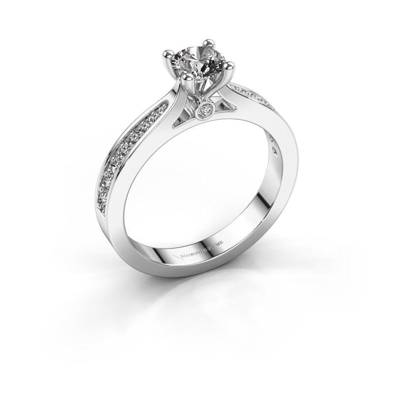 Engagement ring Evelien 585 white gold diamond 0.70 crt