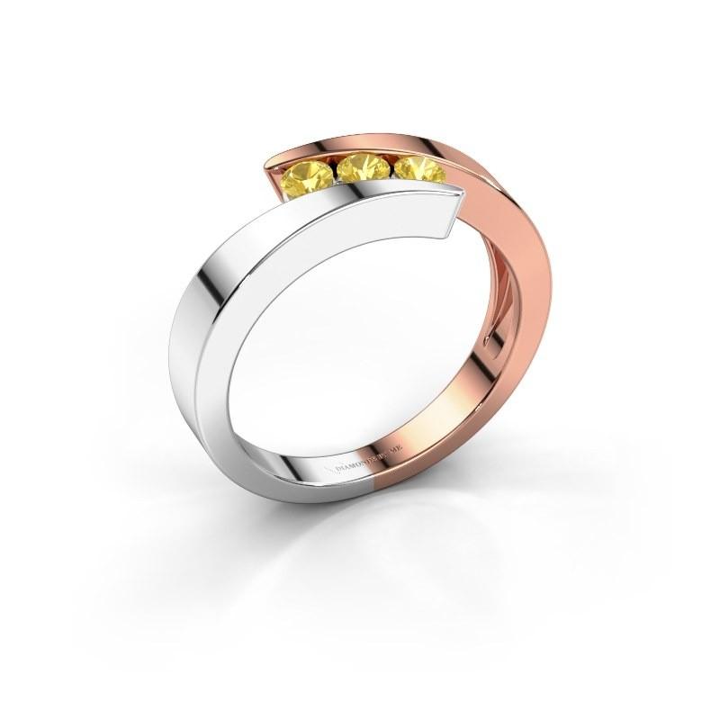 Ring Gracia 585 rosé goud gele saffier 2.7 mm