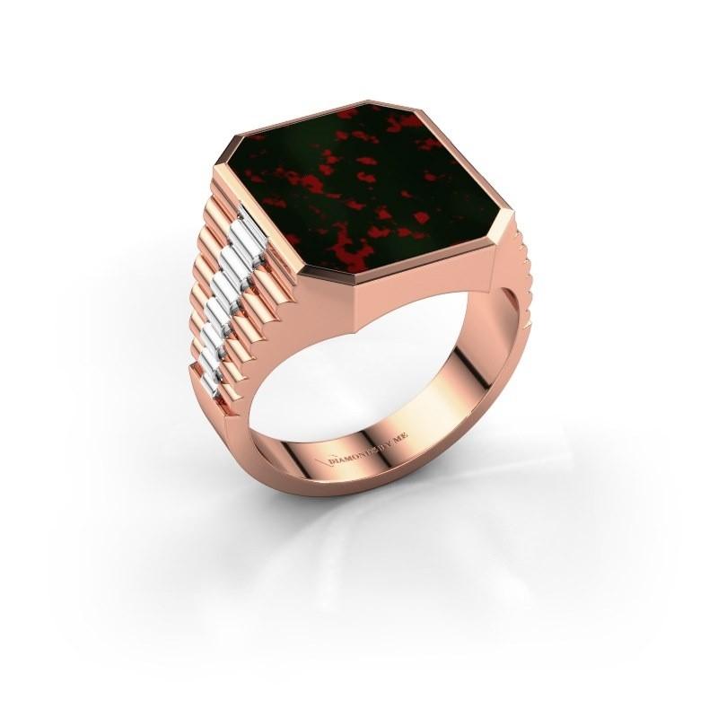 Rolex stijl ring Brent 4 585 rosé goud heliotroop 16x13 mm