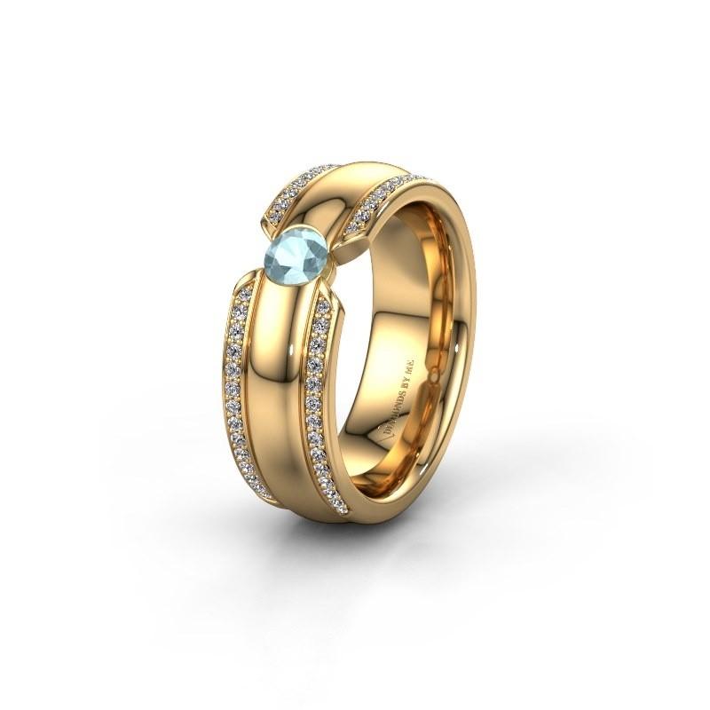 Trouwring WHR0575L 375 goud aquamarijn ±7x2 mm