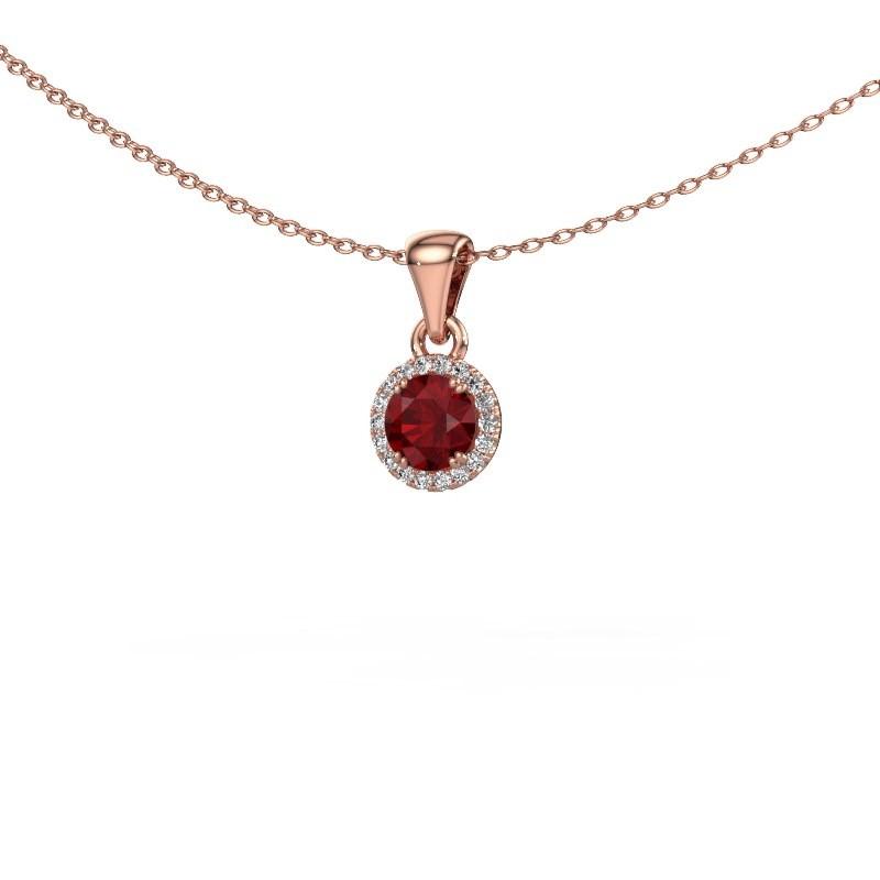 Hanger Seline rnd 375 rosé goud robijn 4.7 mm