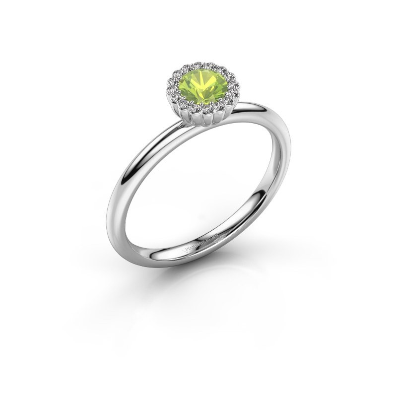 Engagement ring Queen 925 silver peridot 4.2 mm