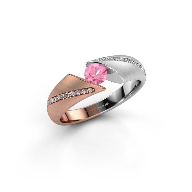 Verlovingsring Hojalien 2 585 rosé goud roze saffier 4.2 mm