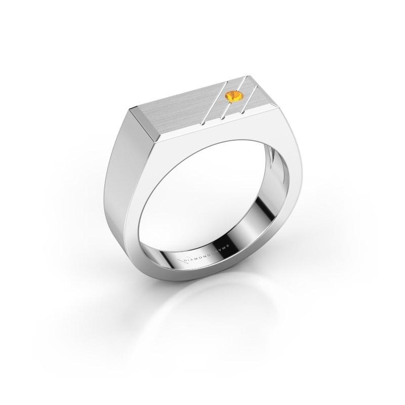 Men's ring Dree 5 585 white gold citrin 2.4 mm
