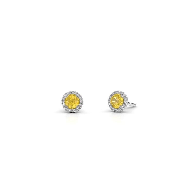 Earrings Seline rnd 950 platinum yellow sapphire 4 mm
