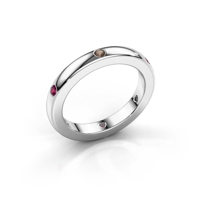 Stackable ring Charla 375 white gold smokey quartz 2 mm