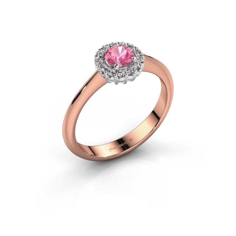 Verlovingsring Anca 585 rosé goud roze saffier 4.2 mm