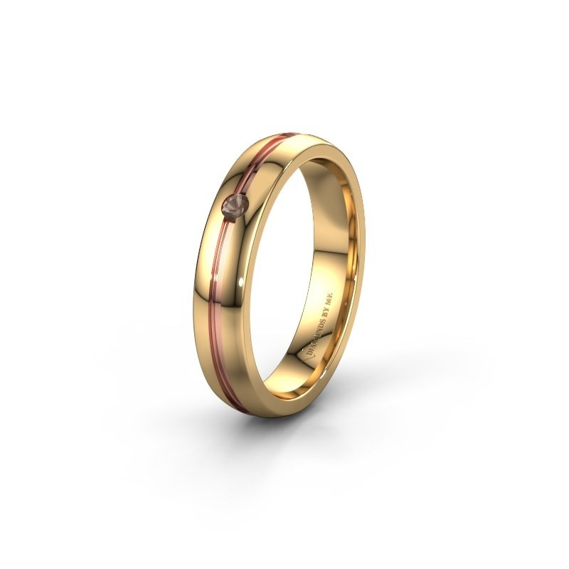 Wedding ring WH0424L24A 585 gold smokey quartz ±0.16x0.07 in