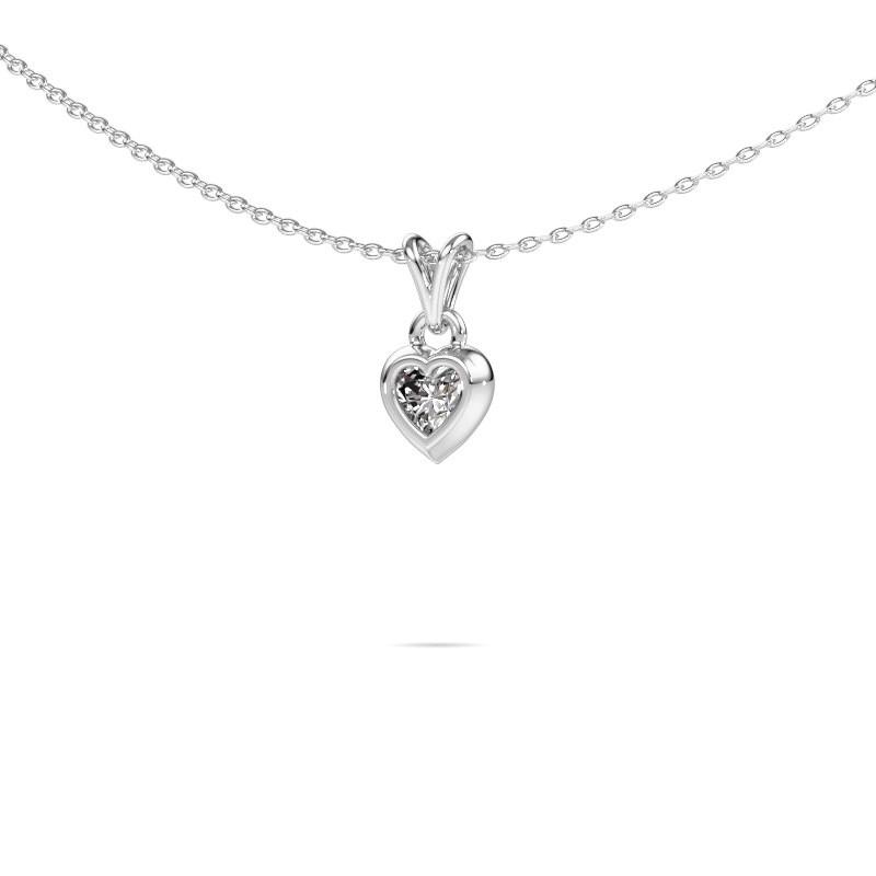Hanger Charlotte Heart 375 witgoud zirkonia 4 mm