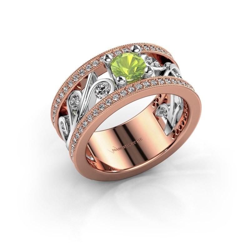Ring Sanne 585 rosé goud peridoot 5 mm