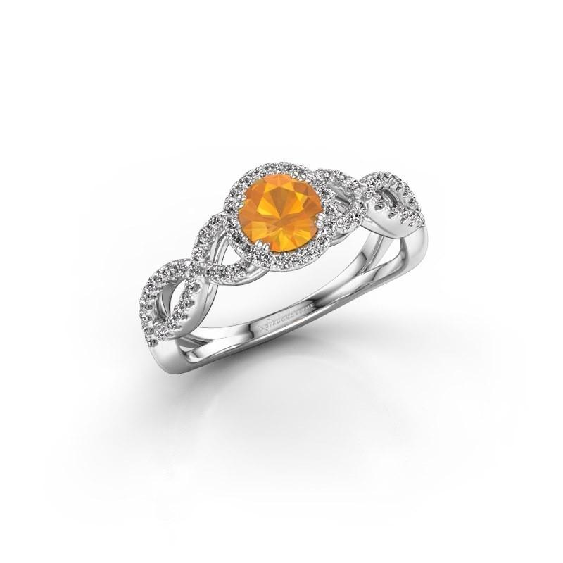 Engagement ring Dionne rnd 950 platinum citrin 5 mm