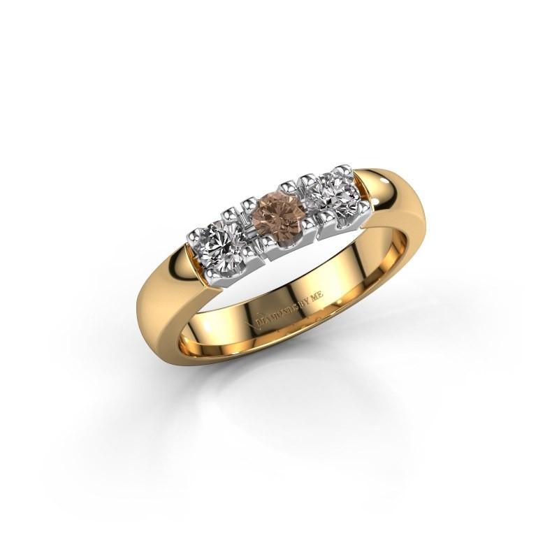 Verlovingsring Rianne 3 585 goud bruine diamant 0.450 crt
