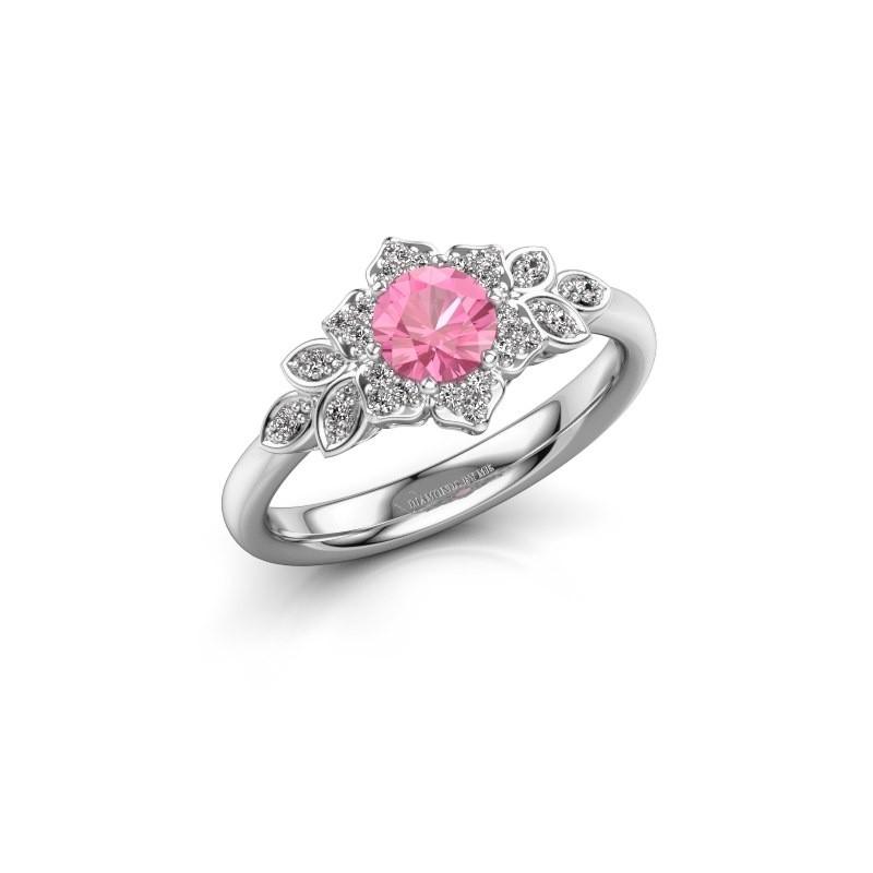 Verlovingsring Tatjana 950 platina roze saffier 5 mm