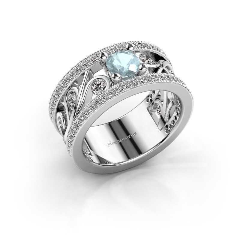Ring Sanne 585 witgoud aquamarijn 5 mm