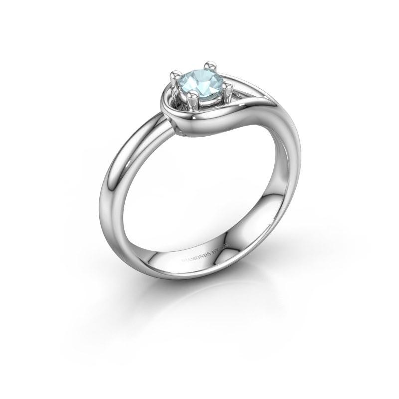 Ring Fabienne 950 platinum aquamarine 4 mm
