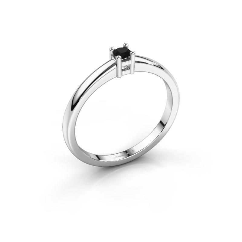 Promise ring Eline 1 585 witgoud zwarte diamant 0.12 crt