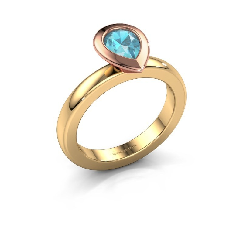 Stapelring Trudy Pear 585 goud blauw topaas 7x5 mm
