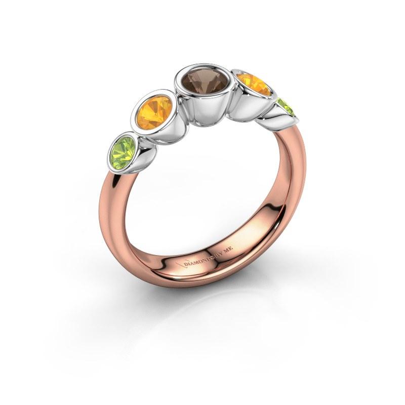 Ring Lizz 585 rose gold smokey quartz 4 mm
