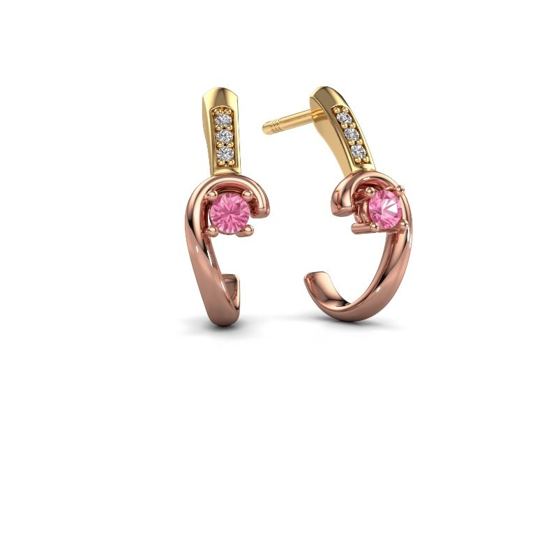 Earrings Ceylin 585 rose gold pink sapphire 2.5 mm