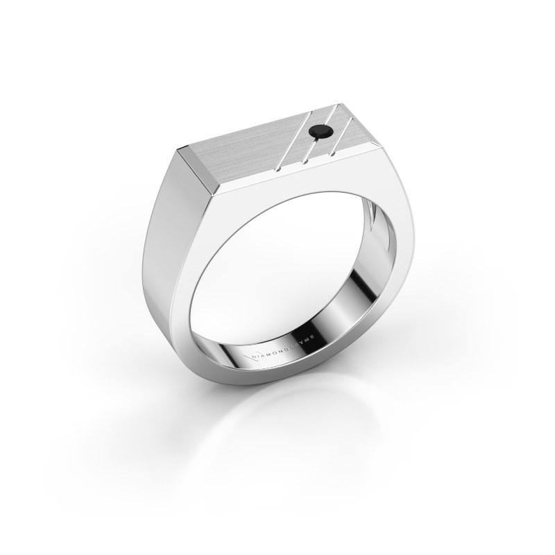Men's ring Dree 5 585 white gold black diamond 0.066 crt