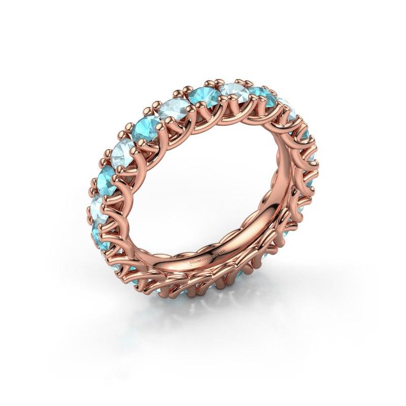 Ring Fenna 585 rosé goud blauw topaas 3 mm
