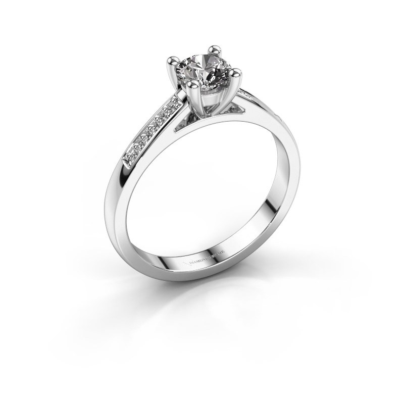 Engagement ring Nynke 585 white gold zirconia 4.7 mm