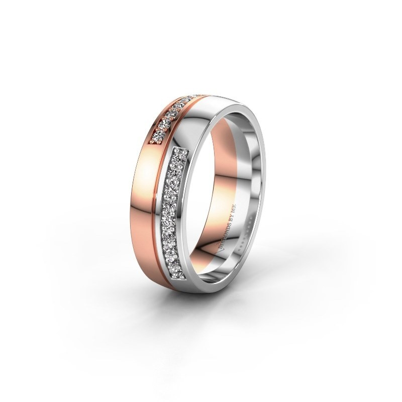 Wedding ring WH0213L26AP 585 rose gold lab grown diamond ±0.24x0.07 in