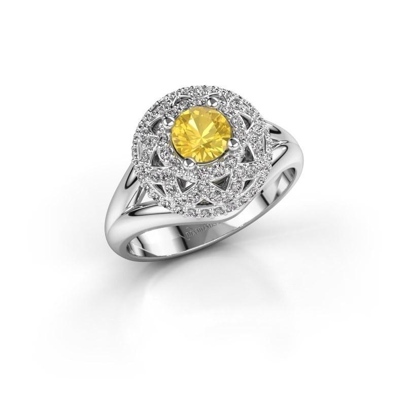 Ring Leonora 925 zilver gele saffier 5 mm