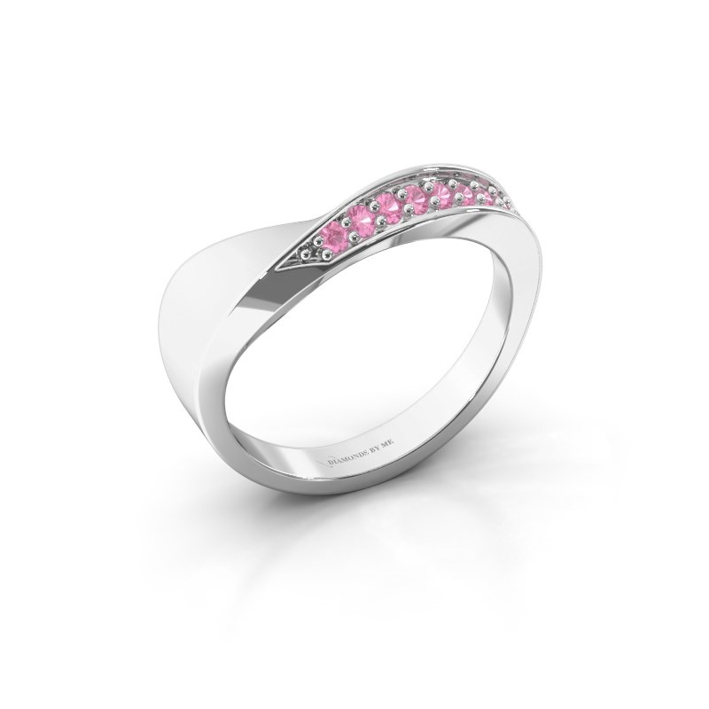 Ring Lynn 585 witgoud roze saffier 1.6 mm