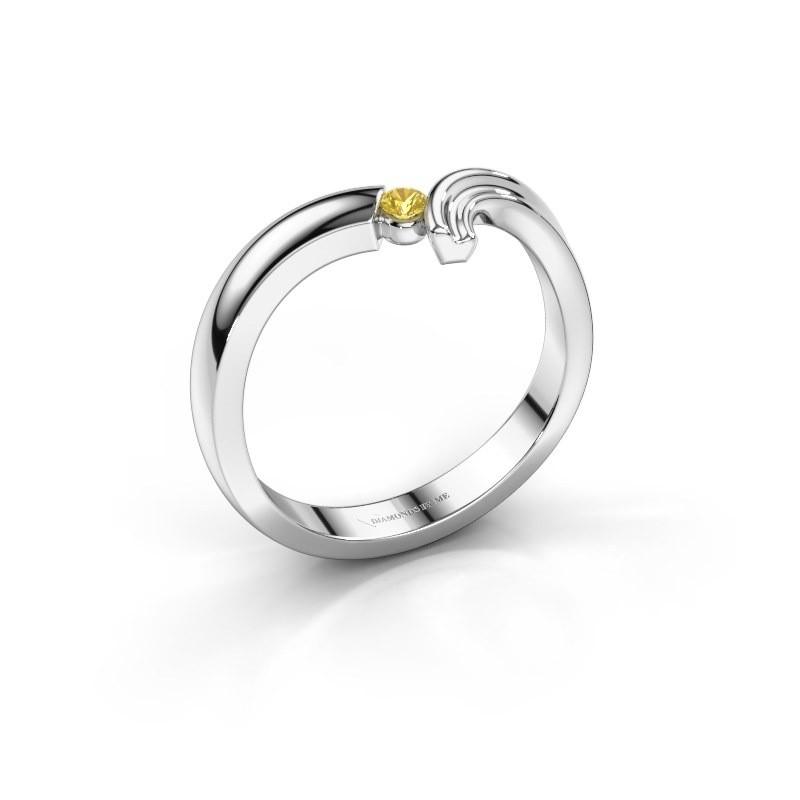 Ring Tish 585 witgoud gele saffier 2.2 mm