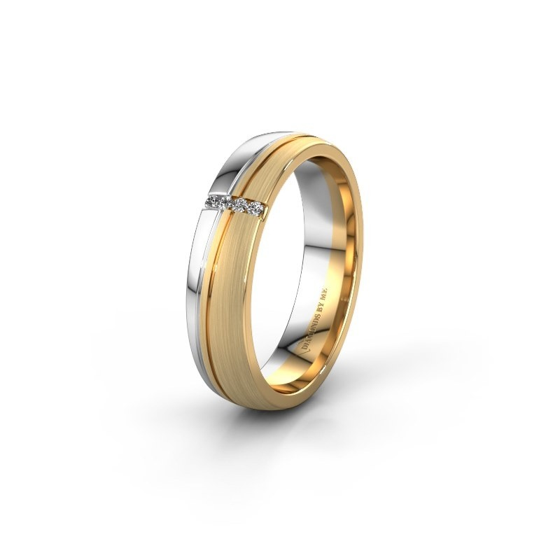 Weddings ring WH0909L25X 585 gold zirconia ±5x1.5 mm