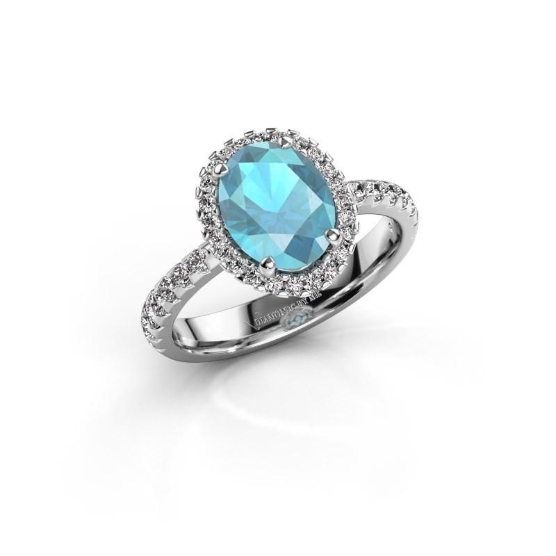 Verlovingsring Lavelle 585 witgoud blauw topaas 9x7 mm