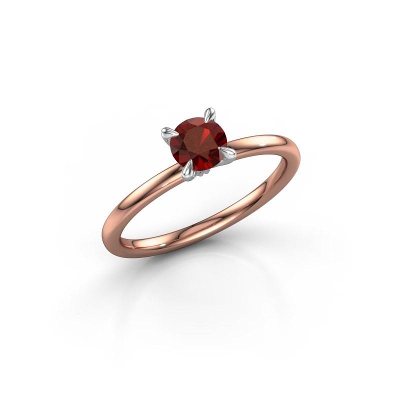 Verlovingsring Crystal RND 1 585 rosé goud granaat 5 mm