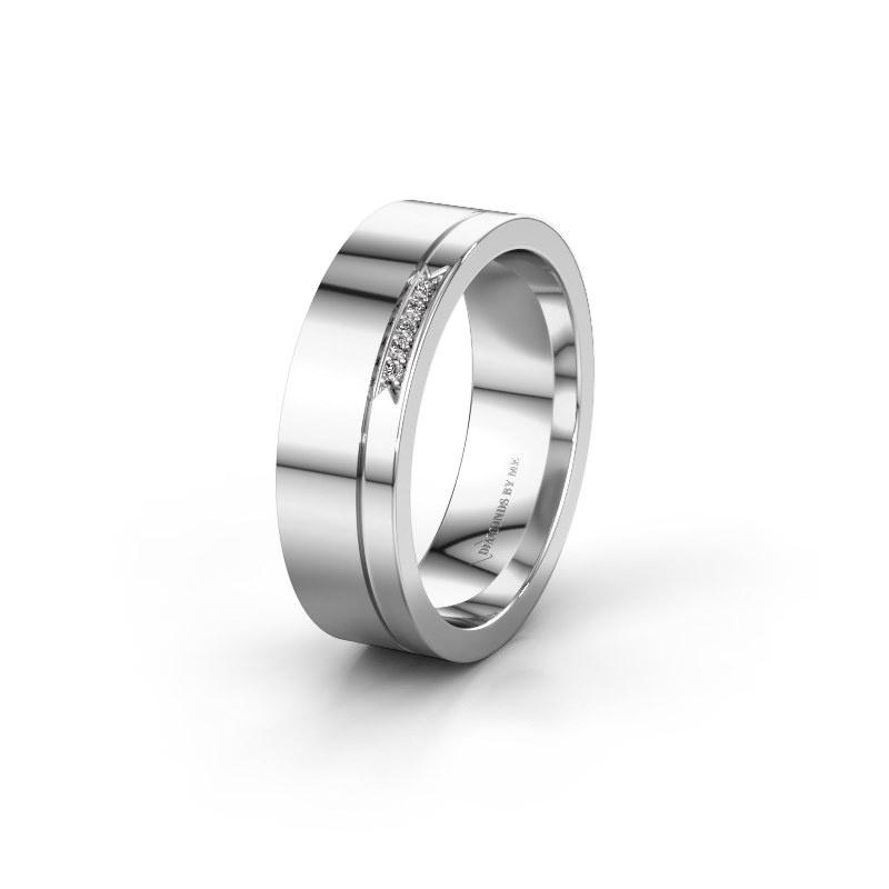 Huwelijksring WH0336L16A 950 platina zirkonia ±6x1.7 mm