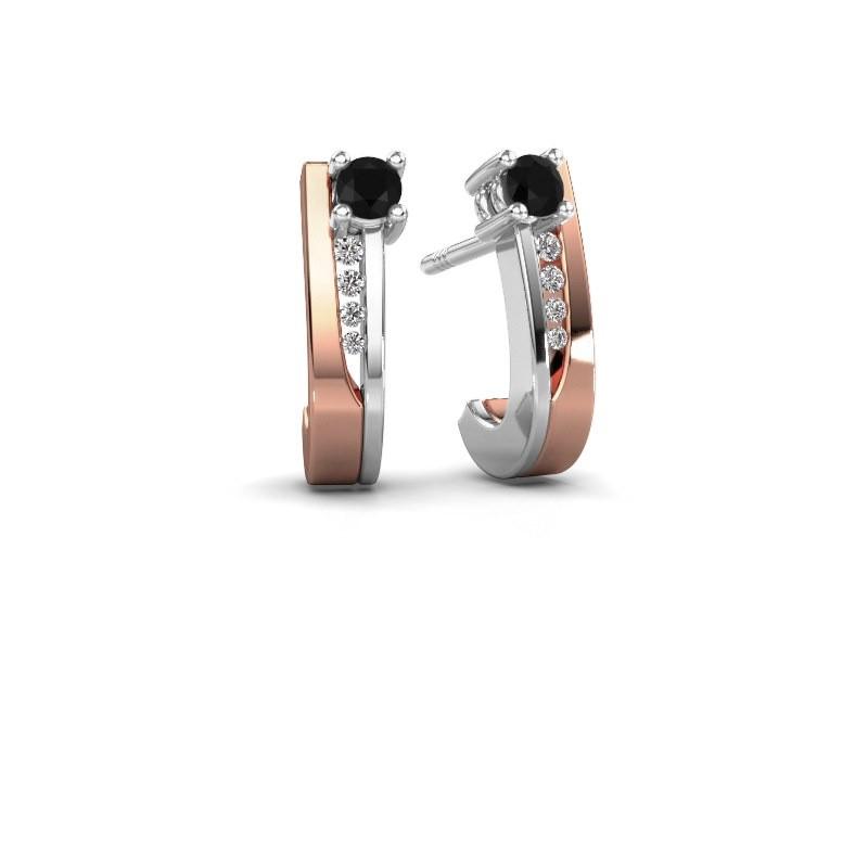 Oorbellen Jewell 585 rosé goud zwarte diamant 0.25 crt