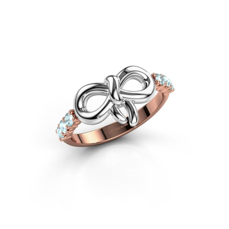 Ring Olympia 585 rosé goud aquamarijn 2.2 mm