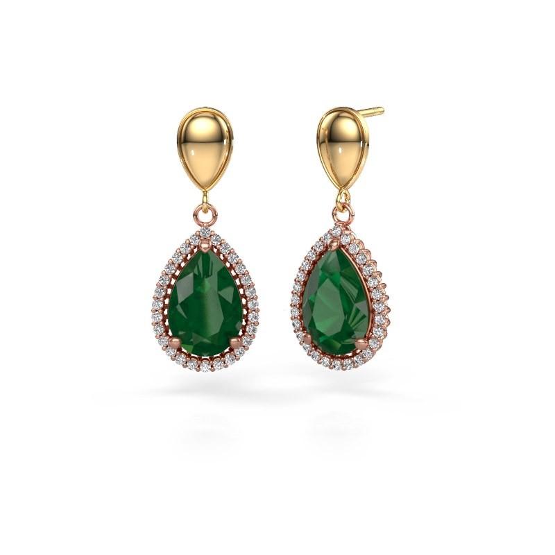 Ohrhänger Tilly per 1 585 Roségold Smaragd 12x8 mm