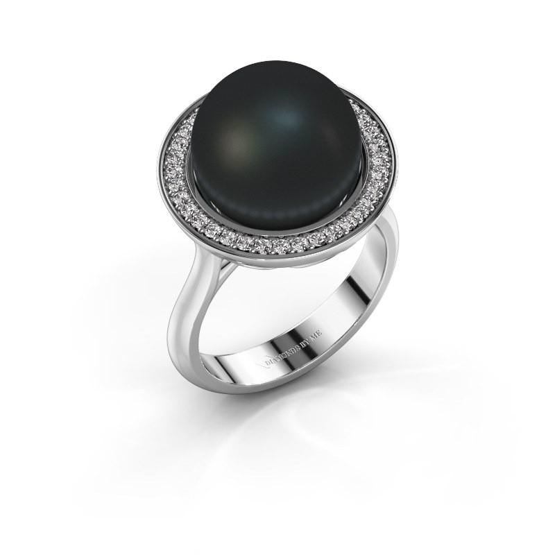 Ring Grisel 925 zilver zwarte parel 12 mm