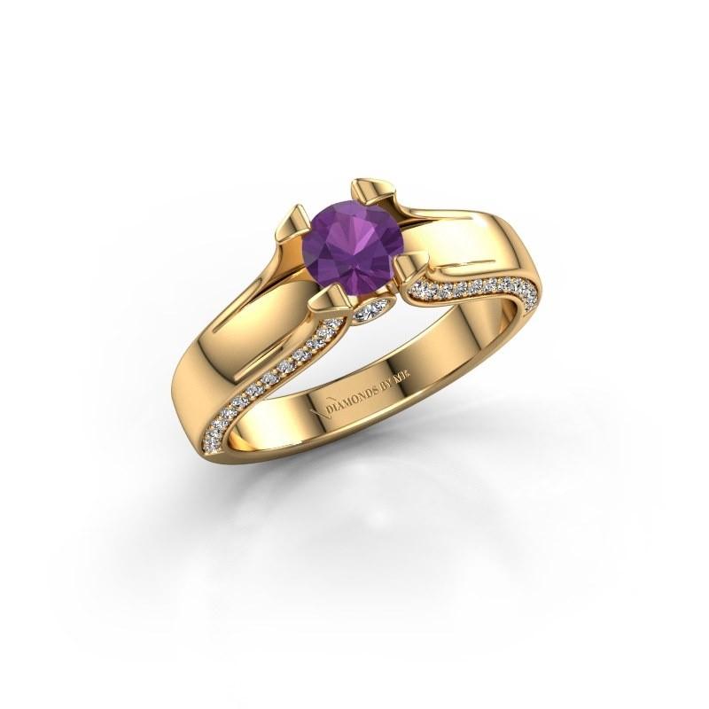 Verlovingsring Jeanne 1 375 goud amethist 5 mm
