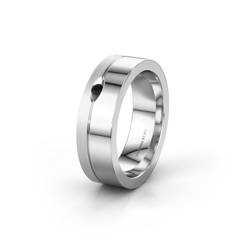 Trouwring WH0329L16B 925 zilver zwarte diamant ±6x2 mm