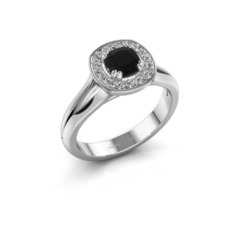 Ring Carolina 1 585 witgoud zwarte diamant 0.76 crt