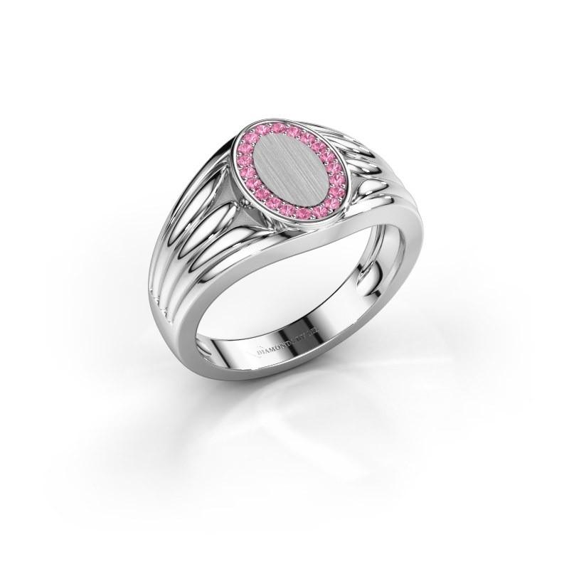 Pinkring Marinus 375 witgoud roze saffier 1.2 mm