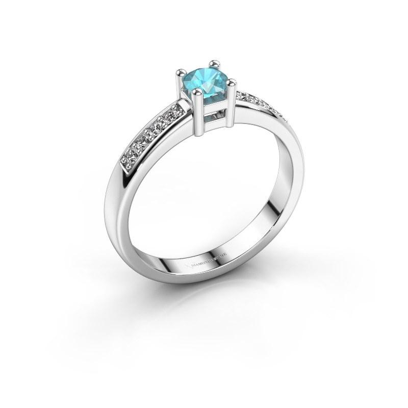 Engagement ring Eline 2 950 platinum blue topaz 3.7 mm